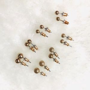 Gold Round Stud Earring Seven-Pack Bundle